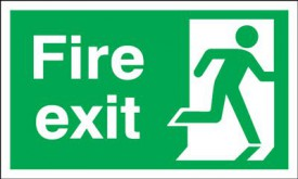Fire Exit Sign Running Man Right 300 x 150mm BS14 Rigid Self Adhesive BS5499 £7.56