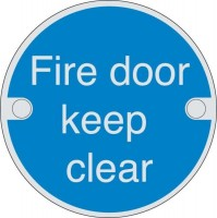 76mm Dia Fire Door Keep Clear Sign Brass BS5499 £4.90