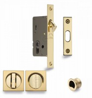 Flush Handle Sliding Door Privacy Lock Set Marcus SQ2308-40-PB Polished Brass Square Rose £65.52