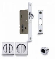 Flush Handle Sliding Door Privacy Lock Set Marcus SQ2308-40-PC Polished Chrome Square Rose £65.52