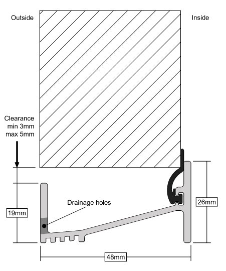 Stormguard Outward Opening Door Sill Profile Dimensions