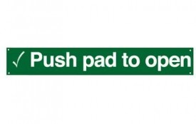 600 x 100mm Rigid Self Adhesive PVC Push Pad To Open Sign £6.39