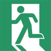 Running Man Sign Left 150 x 150mm BS71 Rigid Self Adhesive BS5499 £5.76