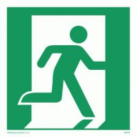 Running Man Sign Right 200 x 200mm BS67 Rigid Self Adhesive BS5499 £5.93