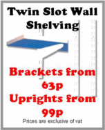 Twin slot adjustable wall shelving system for all kinds of storage in the home, garage, hospitals, offices and work areas. Our shelving has an anti-bacterial coating. Available in a range of sizes of brackets and wall uprights. Fully compatible with the Spur, Arrone, Elfa, Sapphire and Newtech systems, and many others.