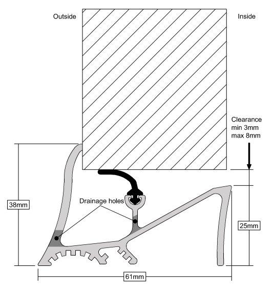 Stormguard Superseal Door Sill Profile Dimensions