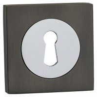 Fortessa Lever Key Escutcheons Square Rose Gun Metal Grey & Polished Chrome per Pair £9.82