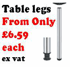Worktop and table top bar legs fully adjustable by 30mm in satin chrome plated or polished chrome finish. Ideal for tables and breakfast bars.